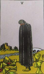 Pięć kielichów - karta Tarota
