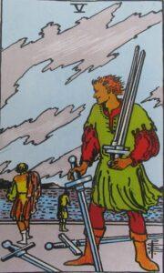 5 mieczy - karta Tarota