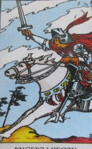 Rycerz mieczy - karta Tarota